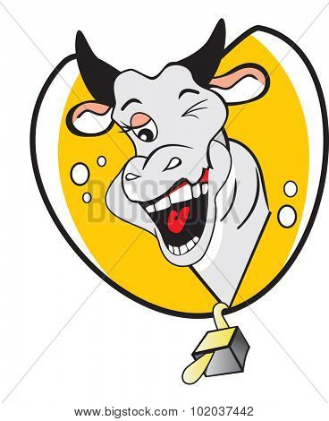 Funny Winking Cow, with a Bubbly Personality, vector illustration
