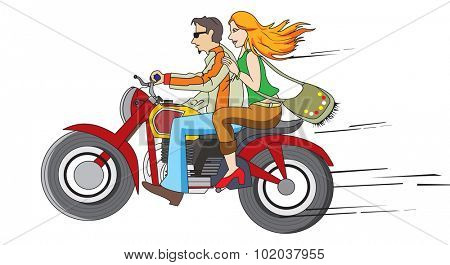 Bike Ride, Couple on a Motorcycle, vector illustration