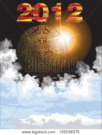 Mayan calendar, 2012, circular, with sunburst and clouds, vector illustration