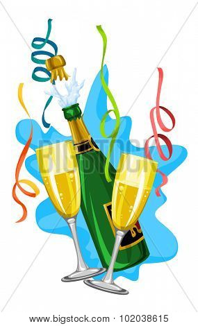 Celebration with white wine in glasses and bottle, vector illustration
