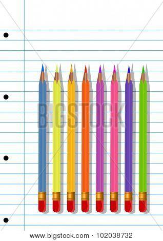 Colored pencils, vector illustration