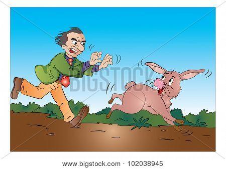 Man Running After a Rabbit, vector illustration