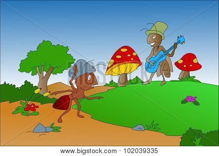 The Ant and the Grasshopper fable, vector illustration