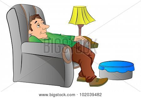 Man Slouching on a Lazy Chair or couch, vector illustration