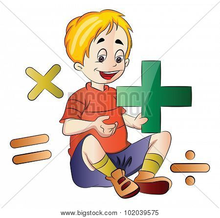 Boy Learning Math, vector illustration