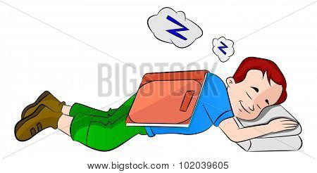 Boy Falling Asleep While Studying, vector illustration