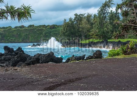 The coast along the road to Hana, Maui, Hawaii
