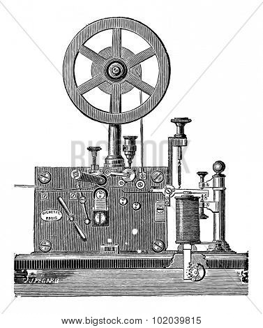 Printing Electrical Telegraph Receiver, vintage engraved illustration. Industrial Encyclopedia - E.O. Lami - 1875