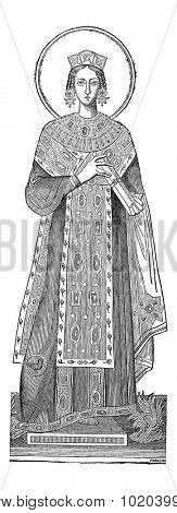 Statue of Saint Agnes, vintage engraved illustration. Industrial Encyclopedia - E.O. Lami - 1875