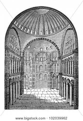 Interior view of Hagia Sophia in Istanbul, Turkey, vintage engraved illustration. Industrial Encyclopedia - E.O. Lami - 1875