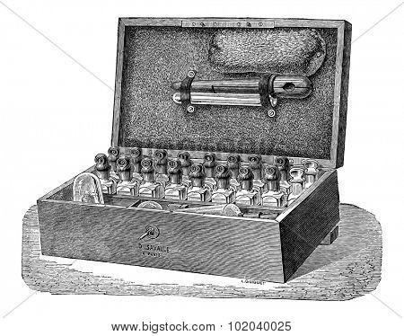 Diaphanometer Set, vintage engraved illustration. Industrial Encyclopedia - E.O. Lami - 1875