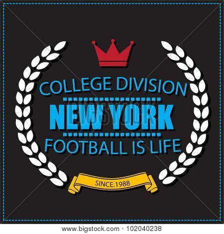 Sport athletic New york champions college football logo emblem.