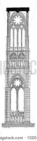 Nave of the Amiens Cathedral in Amiens, France, vintage engraved illustration. Dictionary of Words and Things - Larive and Fleury - 1895