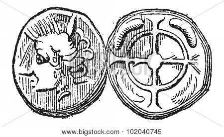 Ancient Celtic Drachma Coin, showing Head (front) and Cross (back), vintage engraved illustration. Dictionary of Words and Things - Larive and Fleury - 1895