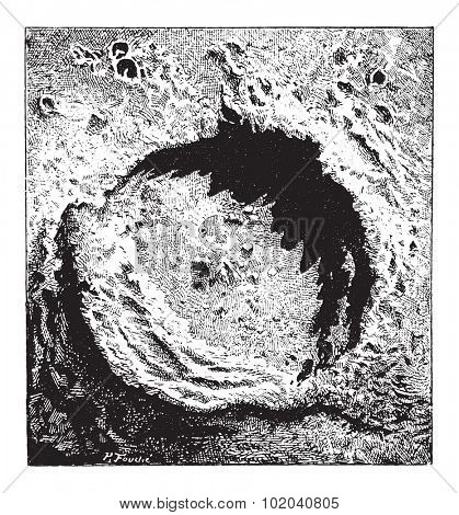 Surface of the Moon, showing the Copernicus impact crater, vintage engraved illustration. Dictionary of Words and Things - Larive and Fleury - 1895