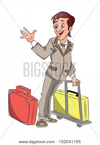Vector of man going for business trip with luggage, waving goodbye.