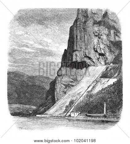 External View of the Marble Quarries of Echaillon in Isere, France, vintage engraved illustration. Le Magasin Pittoresque - 1874