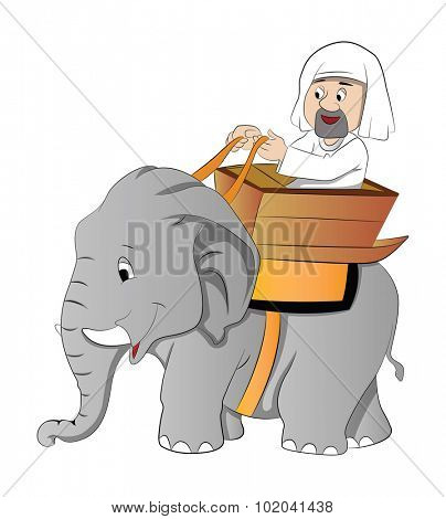 Elephant Ride, vector illustration