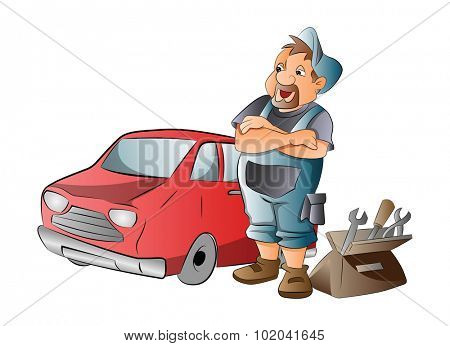 Car Mechanic Working on a Red Car, vector illustration