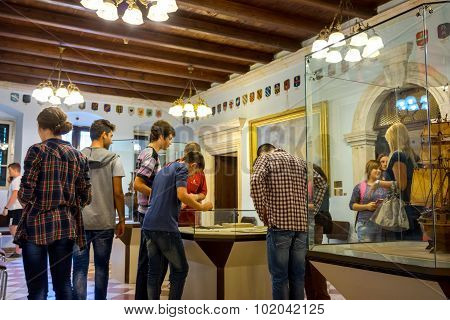 Kotor, Montenegro - September 10, 2015: Maritime Museum Of Montenegro. Visitors Looking At The Expon