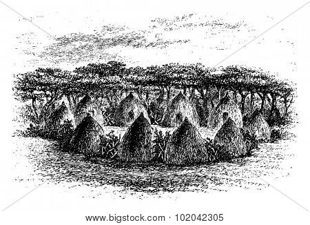 Camp Located Between Chambi and Bie of Angola in Southern Africa, engraving based on the English edition, vintage illustration. Le Tour du Monde, Travel Journal, 1881