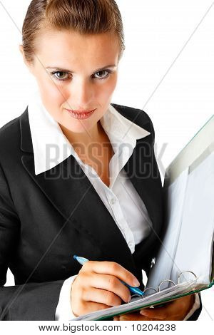 smiling modern business woman  holding folder with  documents