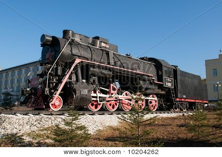 Monument of old steam locomotive