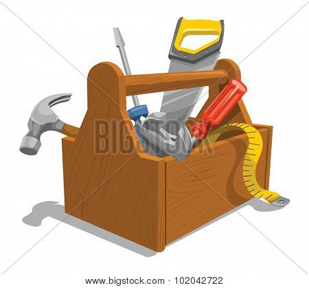 Vector illustration of wooden toolbox with repairing tools.
