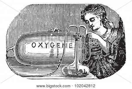 Limousin device to practice oneself inhalation of oxygen, vintage engraved illustration. Usual Medicine Dictionary - Paul Labarthe - 1885.