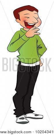 Vector illustration on man laughing on white background.