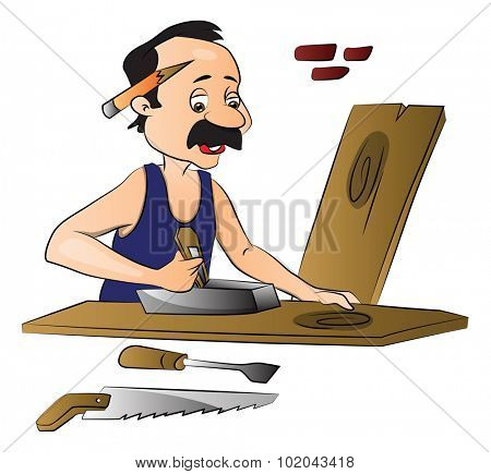 Vector illustration of carpenter working on wooden frame using planer.