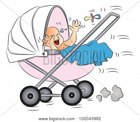 Vector illustration of baby crying in pram.