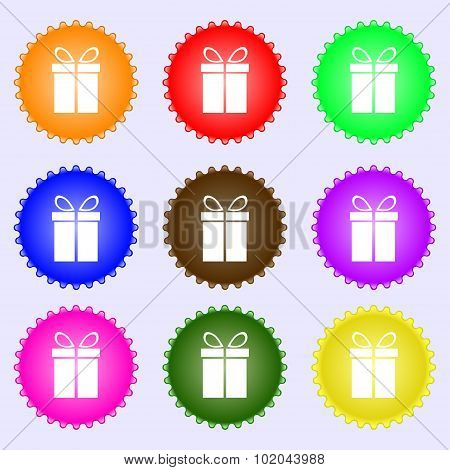 Gift Box Sign Icon. Present Symbol. A Set Of Nine Different Colored Labels. Vector