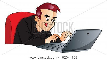 Vector illustration of businessman using laptop at office.