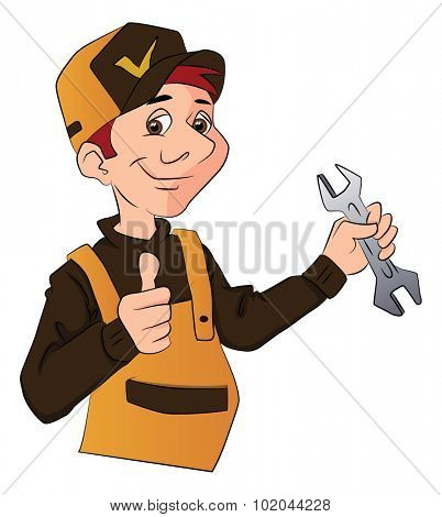Vector illustration of a handyman in overalls, holding a wrench and giving thumbs up.