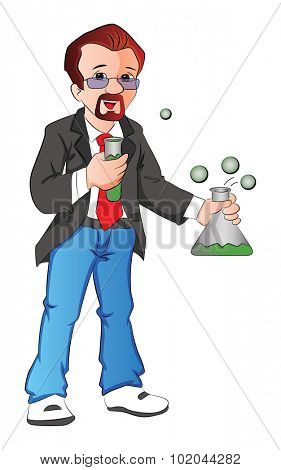 Vector illustration of scientist experimenting with testtube and beaker.
