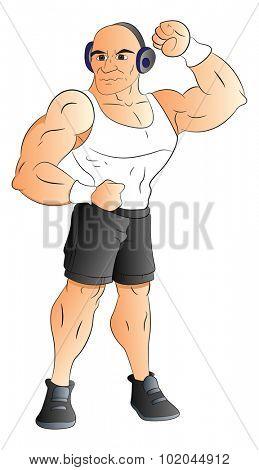 Vector illustration of muscular man listening to music on headphones.