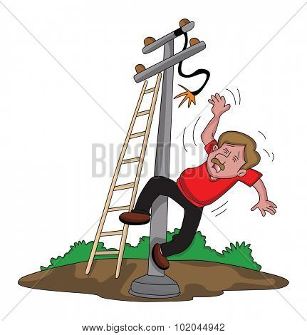 Vector illustration of electrician falling down from ladder after an electric shock.