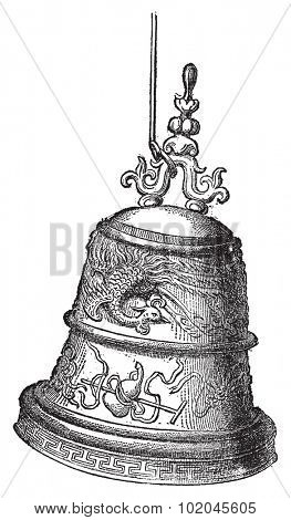 Bell found in the pagoda of Pak Ta, vintage engraved illustration. Le Tour du Monde, Travel Journal, (1872).