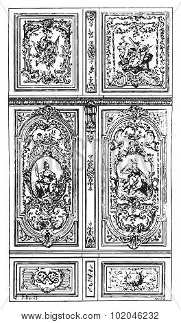 Panel painting at Palace of Fontainebleau, vintage engraved illustration. Dictionary of words and things - Larive and Fleury - 1895.