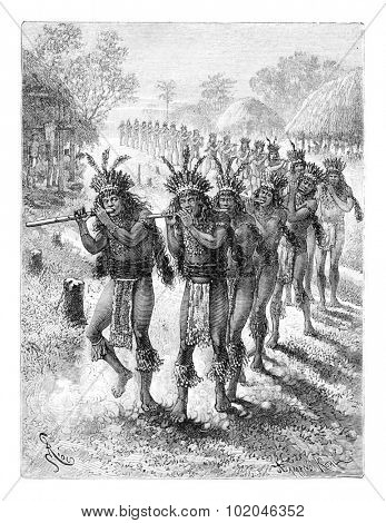 Native Music and Dance in Oiapoque, Brazil, drawing by Riou from a sketch by Dr. Crevaux, vintage engraved illustration. Le Tour du Monde, Travel Journal, 1880