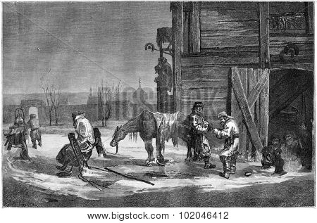 Blacksmith in the suburb of Moscow, Riga, vintage engraved illustration. Le Tour du Monde, Travel Journal, (1865).