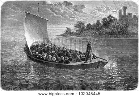 Arminius Vambery and his companions on the Caspian Sea. vintage engraved illustration. Le Tour du Monde, Travel Journal, (1865).