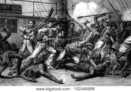 Revolt and massacre of a convoy of four hundred immigrant Malagasy. The bodies piled up, vintage engraved illustration. Journal des Voyage, Travel Journal, (1880-81).