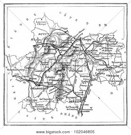Map of the department of Sa���´ne-et-Loire, vintage engraved illustration. Journal des Voyage, Travel Journal, (1880-81).