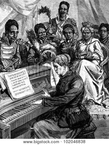 Ida Pfeiffer. Playing the piano at the court of Queen Pomare, vintage engraved illustration. Journal des Voyage, Travel Journal, (1880-81).