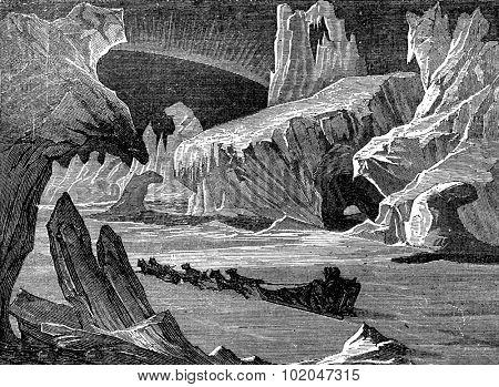 In ice, arctic landscape, vintage engraved illustration. Journal des Voyages, Travel Journal, (1879-80).