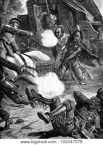 The attack mail. And sides of gun it was the most daring of these rascals on earth, vintage engraved illustration. Journal des Voyages, Travel Journal, (1879-80).