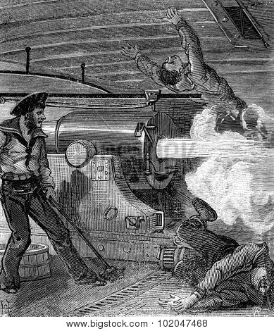 Bandits of the sea head had been crushed, vintage engraved illustration. Journal des Voyages, Travel Journal, (1879-80).