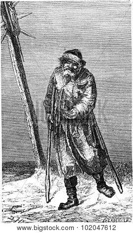 Beggar in Lithuania, vintage engraved illustration. Le Tour du Monde, Travel Journal, (1865).